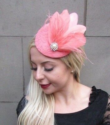 Salmon Peach Coral Pink Feather Pillbox Hat Fascinator Races Wedding Hair 6601
