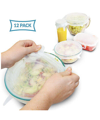 Silicone Stretch Lids By Eco Lifestyle, 6 Various Sizes - Set Of 12 - Reusable