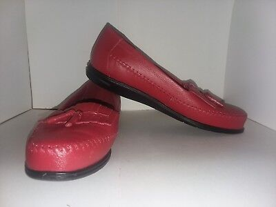 fd6e04279e5 Dr Scholl s Womens Size 10M Red Leather Slip On Double Air-Pillo Insole  Loafers