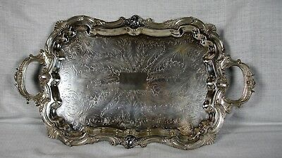 Vintage Birmingham Silver Co. B.S.C. Silver Plated Ornate Footed Butler's Tray.