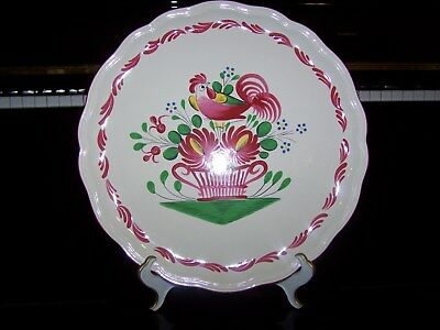 """St. Clement FRANCE Hand Painted Chanticleer Rooster 13"""" SERVING PLATE Round #1"""