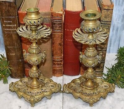 Antique Pair French Bronze Candlesticks Candle Holders Figural Females Cherubs