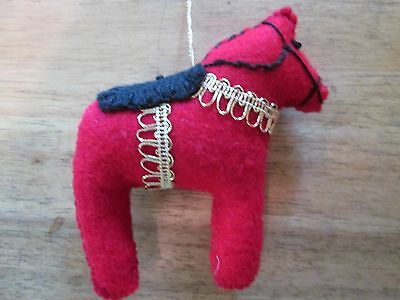 Dala Horse ornament Red mettalic+++ embroidery Scandinavian swedish handcrafted