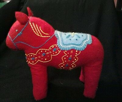 Dala Horse stuffed large Red embroidery Scandinavian swedish handcrafted