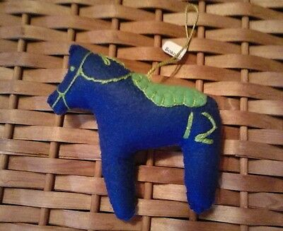 Dala Horse ornament   Blue 12th man embroidery Scandinavian swedish handcrafted