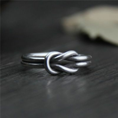 Unisex Handmade Knot 999 Sterling Silver Rings Vintage Punk Creative Jewelry
