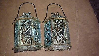 Vintage Cast Iron Garden Pagoda Japanese Lantern Candle Holder