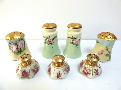 Lot 7 Salt Pepper Shakers Porcelain Hand Painted Signed