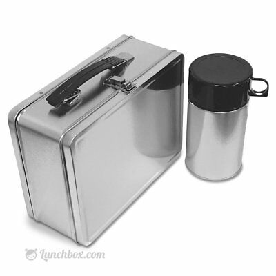 Plain Metal Lunch Box and Insulated Bottle - Lunchbox w Foam Insulated Thermos