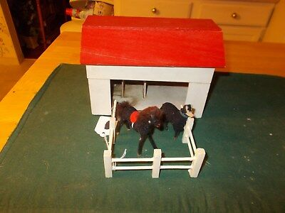 Hand Made In The Middle 1900S Yellow Barn With Red Roof 2 Stalls Paddock Animals