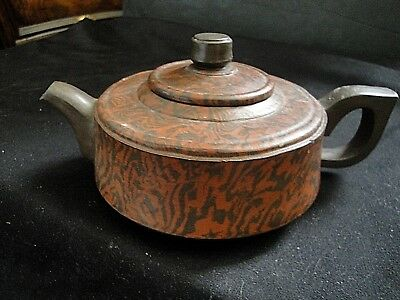 Vtg 1990's Two Tone Swirl Yixing Clay Signed Teapot