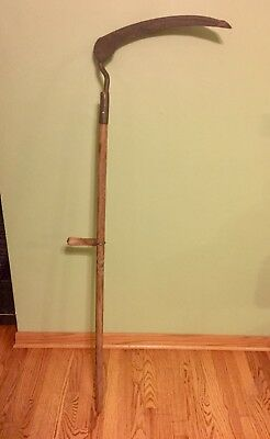 "Vintage Antique 51"" Long Scythe Hay Grain Sickle Farm Tool Blade is 18"" Long"