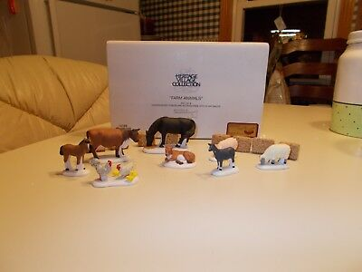"""Dept.56 Heritage Village Collection""""Farm Animals"""" 8 Figurines With 8 Hay Bales"""