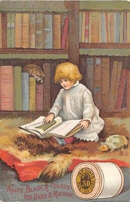 Child Reading Library Books Cat J&P Coats Thread Co Victorian Trade Card