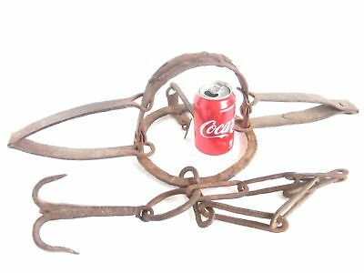 ANTIQUE wrought iron Double Spring BEAR TRAP w/ teeth, chain & engraved hook*$*