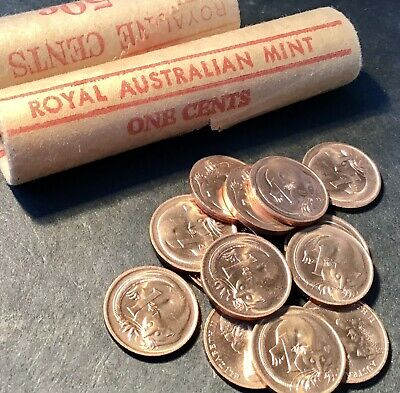 1973 1 Cent Coin. X 2 Ex Mint Roll. Australian Decimal. Uncirculated Condition.