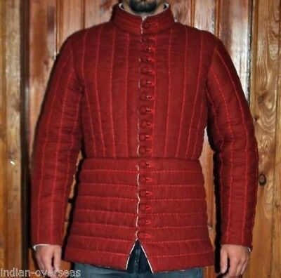 Gambeson Red batting Medieval-Reenactment-buttons-Aketon archer arming jacket..
