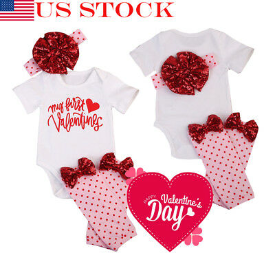 Valentines Day Gifts Baby Girls Outfit Clothes Romper Bodysuit Headband 0-18M US