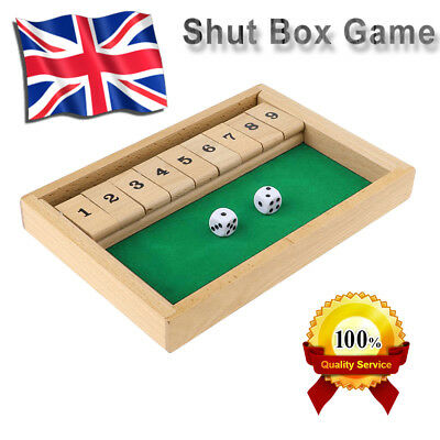 Shut The Box Traditional Children Family Game Wood Wooden Board Dice Game Party