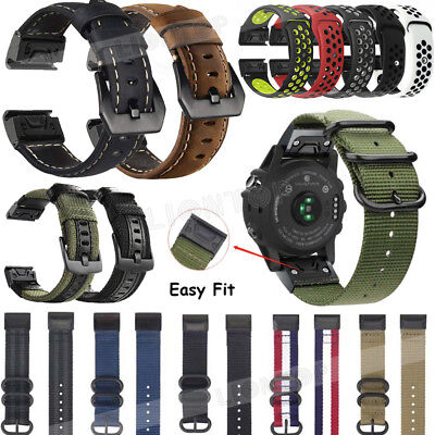 For Garmin Fenix 3 HR 5X 5X Plus S60 Leather/Nylon/Silicone Band Easy Fit Strap