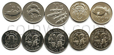 Iceland 5 coins set 2005-2011 Fishes (#3301)