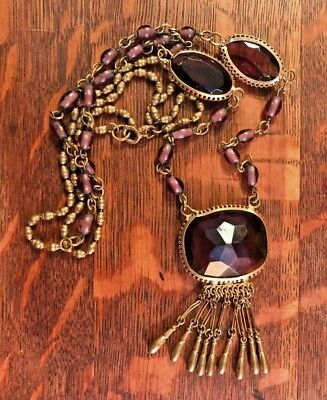 Antique Purple Amethyst Glass Bezel Set & Brass Edwardian Victorian Necklace 32""