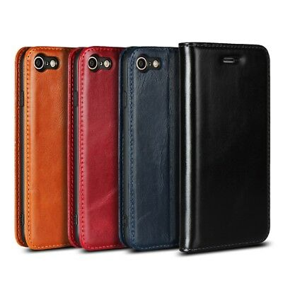 Genuine Leather Phone Shell Case Cover with Card Slot for iPhone 8 7 4.7 inch