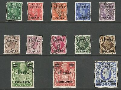 Eritrea Sge13-25 The 1950 Ba Eritrea Gb O/print Set Of 13 Fine Used Cat £95