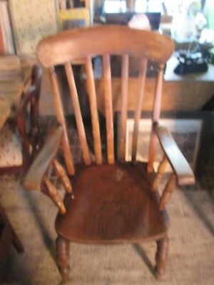 Antique Pine High Back Kitchen Chair