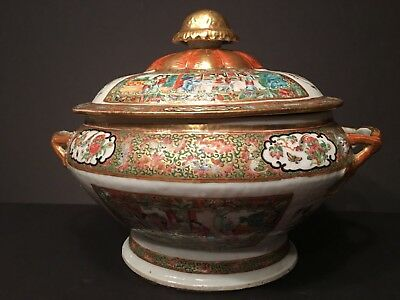 Antique Chinese Rose Medallion Mandarin Tureen Bowl, early 19th Century