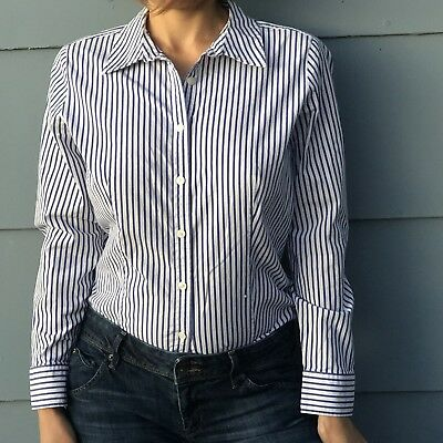 96b18af67 TALBOTS BLUE WHITE Striped Business Career Button Down Women's 6 ...