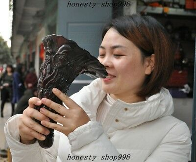 Antiques Rare Ox horn Bull horn Carved grape Lotus Statue Wine vessel Cup