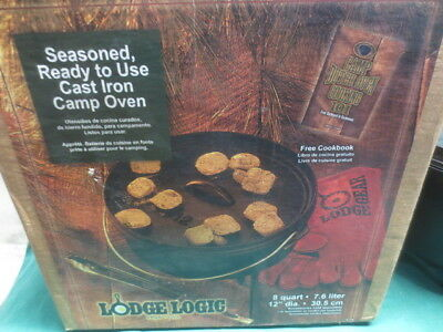 Vtg LODGE #12 Cast Iron Footed Dutch Oven Camp 8 qt