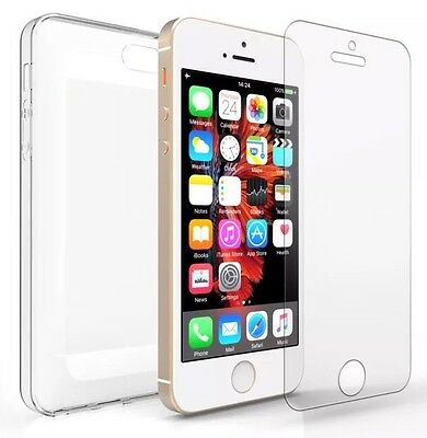 NEW iPhone 5 5s Clear Gel Case Cover And Tempered Glass Screen Guard Protector