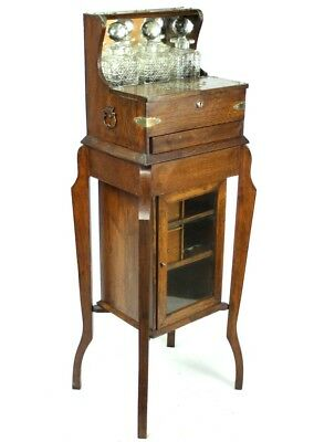Antique English Oak Tantalus on Stand with Drinks Cabinet - FREE Shipping [4788]