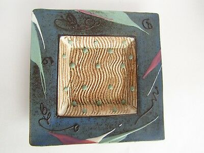 """Vintage 80's CUNNINGHAM POTTERY 8"""" square Bowl/Dish  Iowa Art Memphis Abstract"""