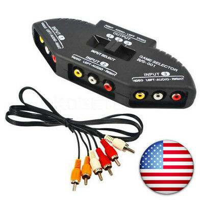 3 In 1 RCA Audio Video AV Selector Switcher Box A/V Multi Input/output 4 XBOX US