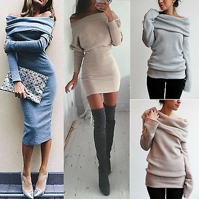 Women Off Shoulder Bodycon Slim Fit Dress Winter Long Sleeve Jumper Clubwear Top
