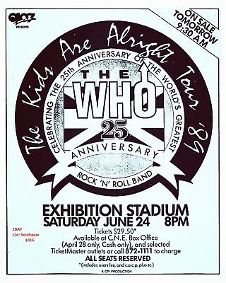 "1989 The Who ""25th Anniversary"" Tour Toronto Concert Vintage Print Ad"