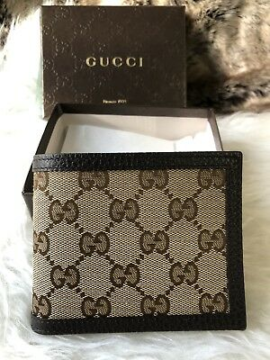 4beac79f9865be NWT Authentic GUCCI Guccisimma GG BiFold Wallet In Canvas & Dark Brown  Leather