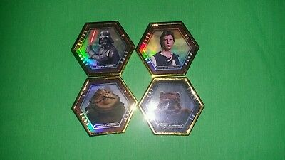Lot of 4 TOPPS Star Wars Galactic Connexions Series 1 Gold Ultra Rare Discs