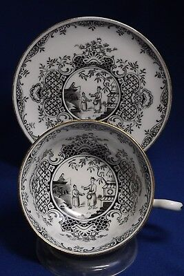 Royal Chelsea English Bone China Asian Cup & Saucer, Black/White Pattern - Rare