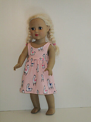 "Llama/Pink Sundress for 18"" Doll Clothes American Girl"