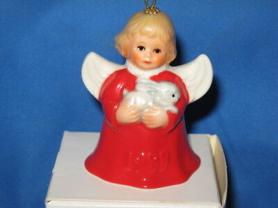 Goebel 1999 Annual Angel Bell Christmas Ornament Red