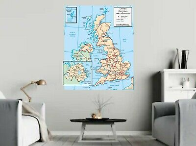 UK Map Large Wall Chart Poster large print  Various sizes Paper Canvas Decal