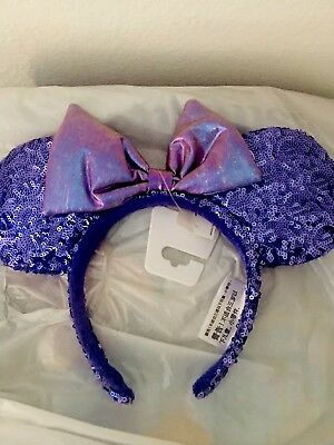New Disney Parks Potion Purple Sequins Minnie Ears Headband