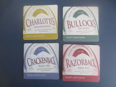 complete set of 4 SNOWY MOUNTAINS Brewery 1990,S issue,collectable BEERCOASTERS