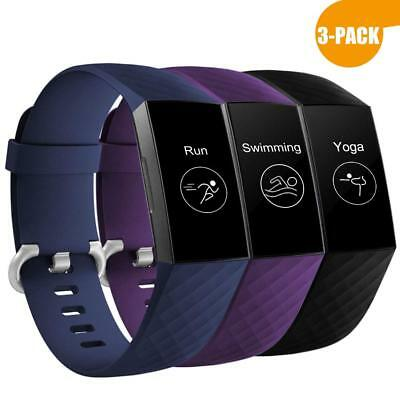 3 Pack Replacement Wristband For Fitbit Charge 3 Band Silicone Fitness LARGE