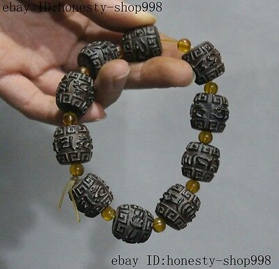 Collect Rare Tibet Ox horn hand-carved Six words mantra Buddha beads Bracelet