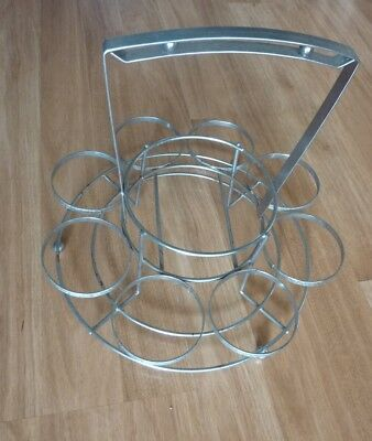 Vintage Chrome Metal Mid Century Modern 8 Glass Carrying Caddy Party Carrier